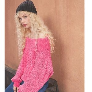 Sweaters - Neon Pink Knit Sweater